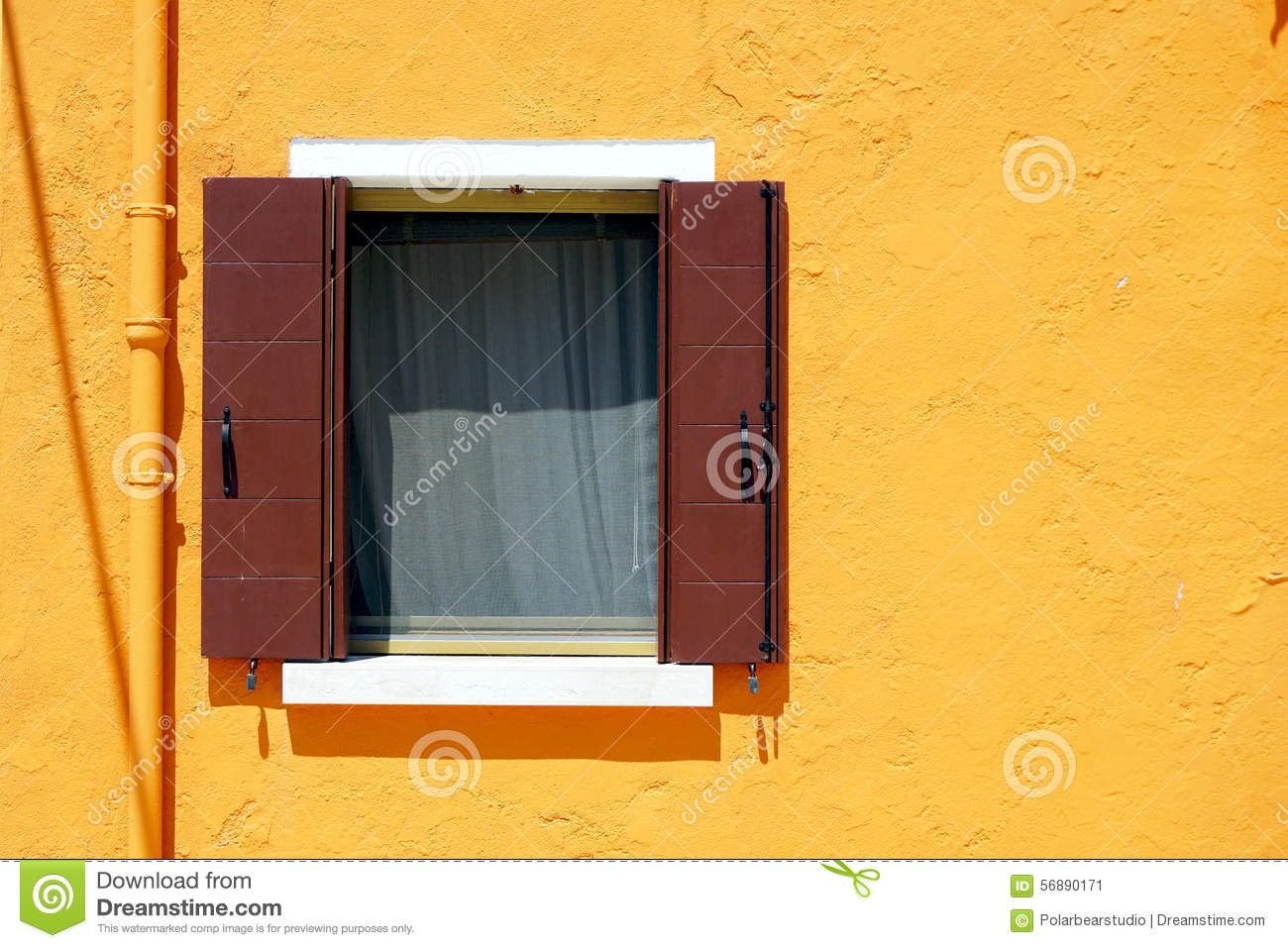 Brown Window In Burano On Orange Color Wall Stock Image - Image of ...