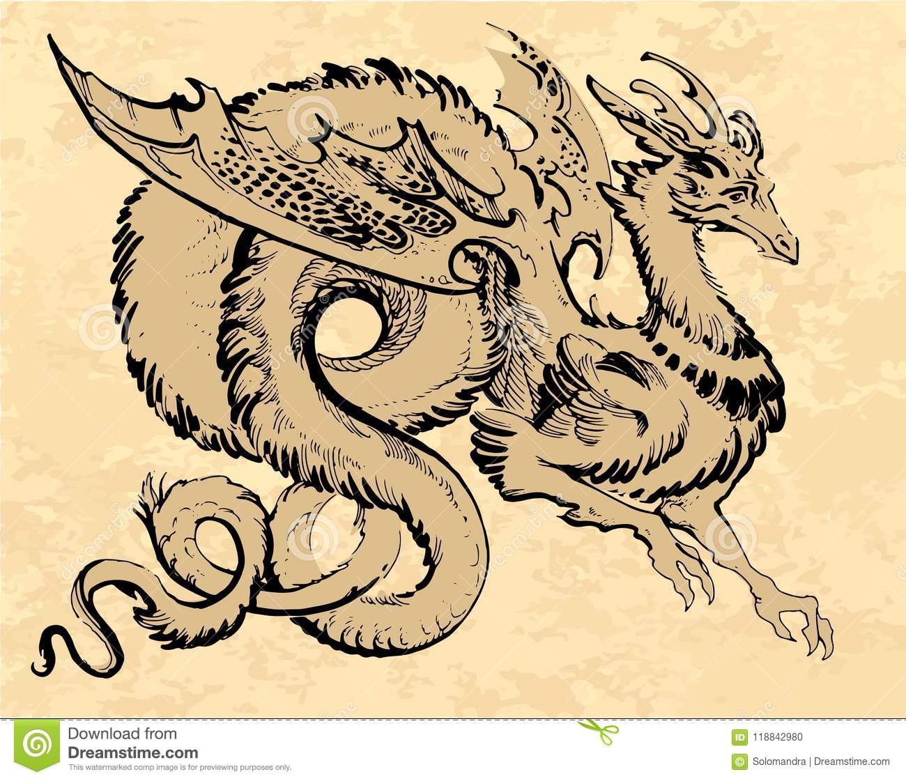 Brown Winged Dragon In Asia Style With A Long Tail Stock