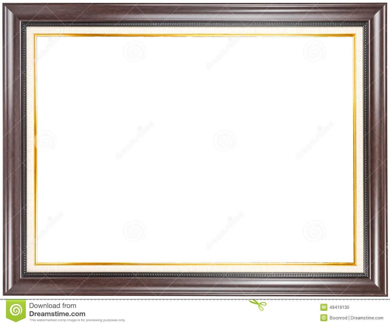 brown wood frame with gold trim