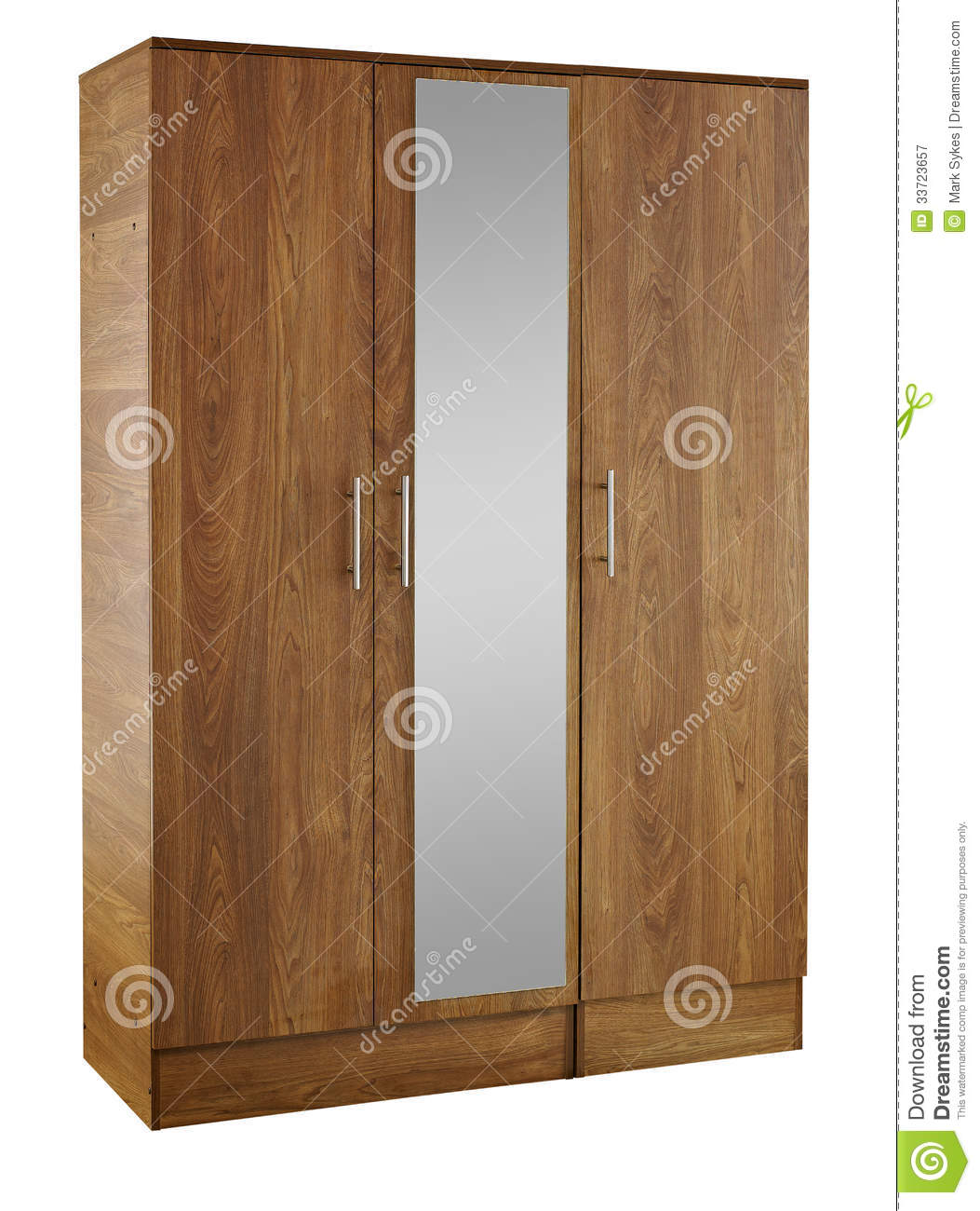 Amazing photo of Brown wood bedroom wardrobe with mirror isolated on white background. with #85A724 color and 1053x1300 pixels