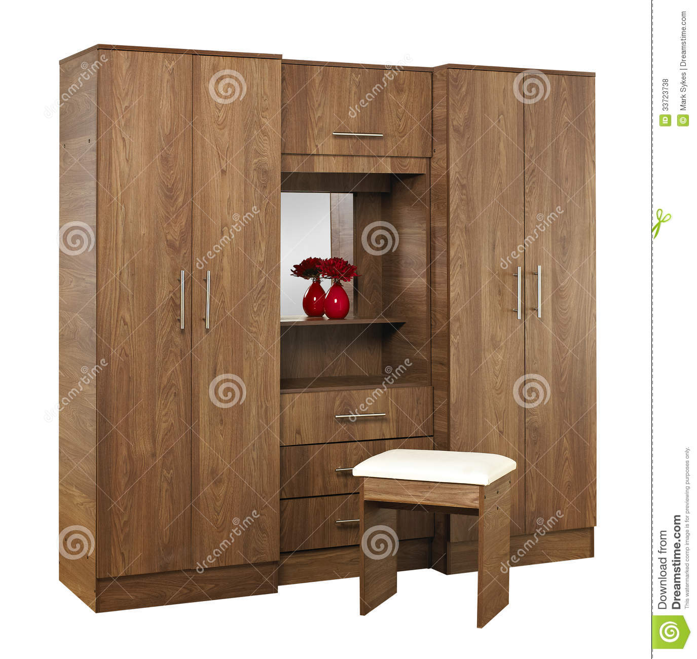 Amazing photo of Brown wood bedroom wardrobe with mirror isolated on white background. with #84A625 color and 1375x1300 pixels