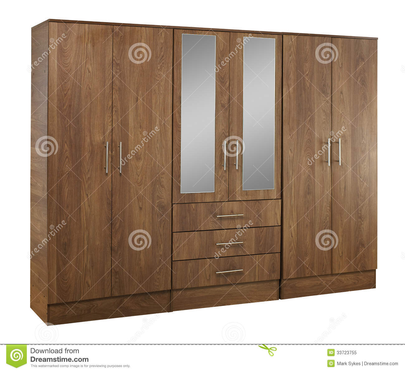 Amazing photo of Brown wood bedroom wardrobe with mirror isolated on white background. with #84A625 color and 1300x1195 pixels