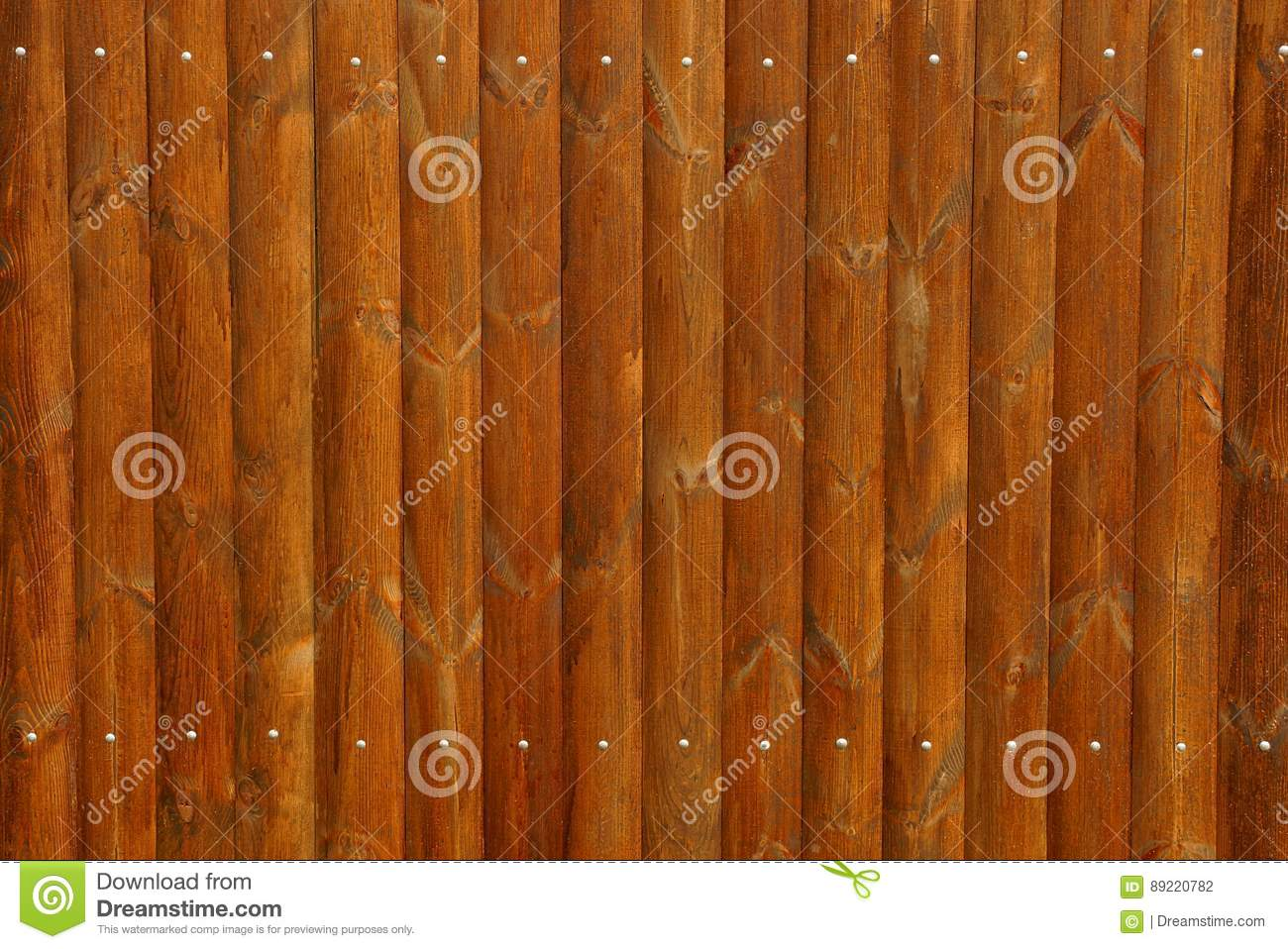 Brown Wooden Fence Texture With Nails Stock Photo Image Of