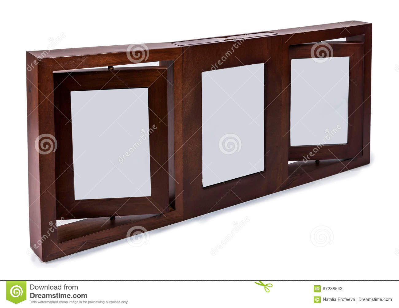 Brown Wooden Photo Frame Set 3 Frame Rotated In A Plane Isolated ...