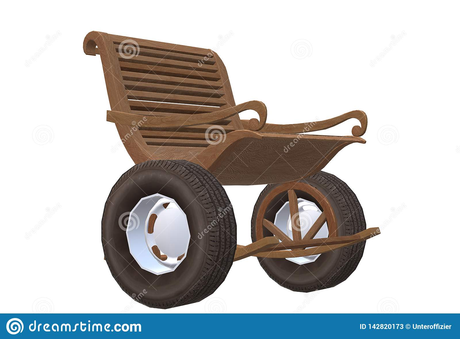 Terrific A Brown Wooden Rocking Chair Mounted With Rubber Tyre Wheels Evergreenethics Interior Chair Design Evergreenethicsorg