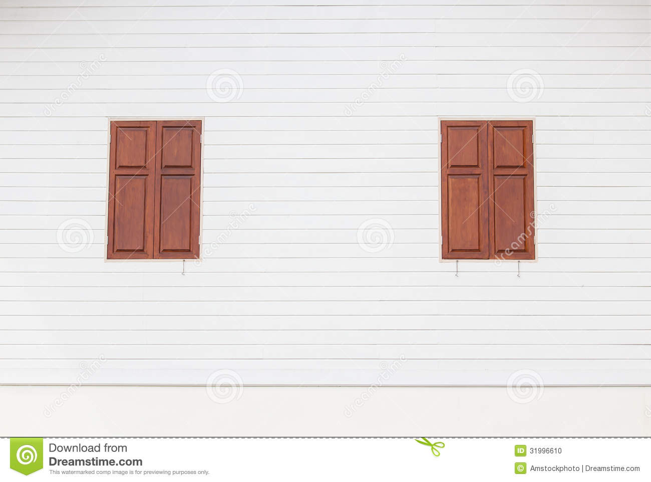 White Wood House : Brown Wooden Windows On White Wooden House Stock Photo - Image ...
