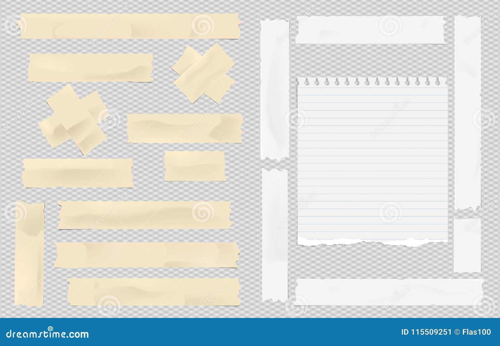 Brown y el enmascarar pegajoso adhesivo blanco, cinta aislante, pedazo rasgado del papel del cuaderno de la nota para el texto en