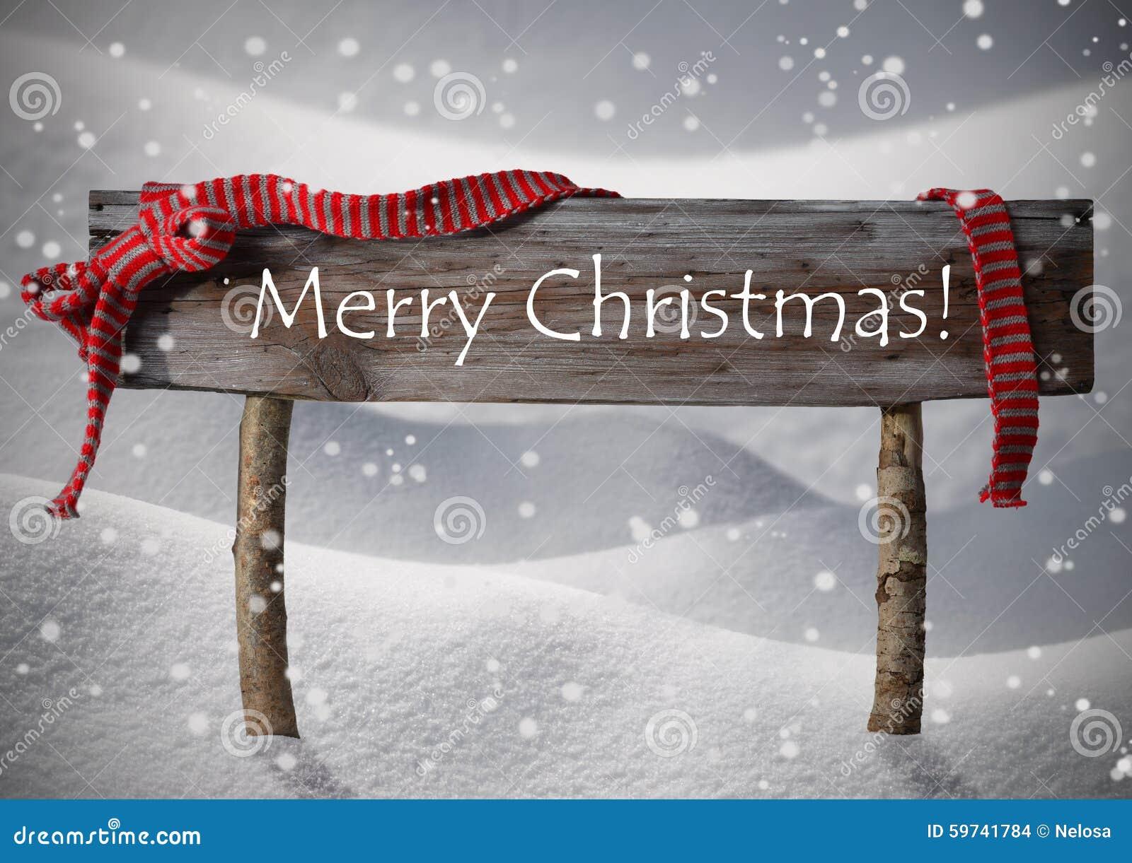 Brown-Zeichen-frohe Weihnachten, Schnee, Snowfalkes, Rotes Band ...
