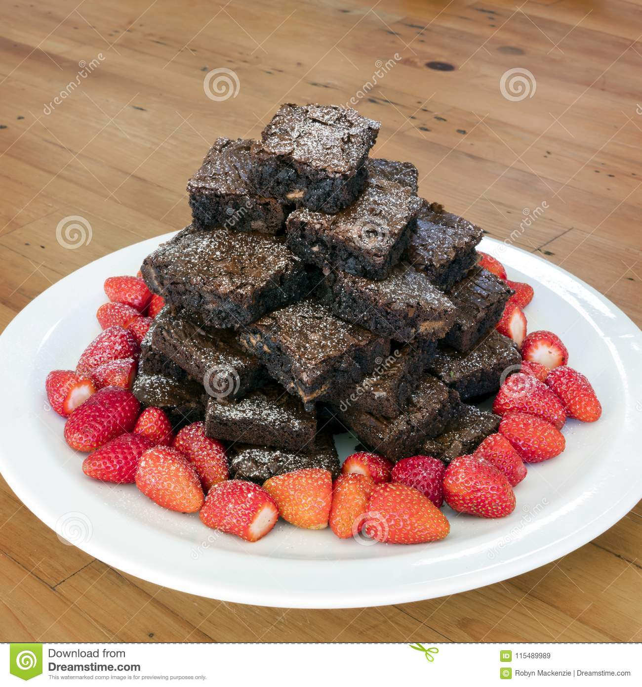 Brownie Tower Stack with Strawberries