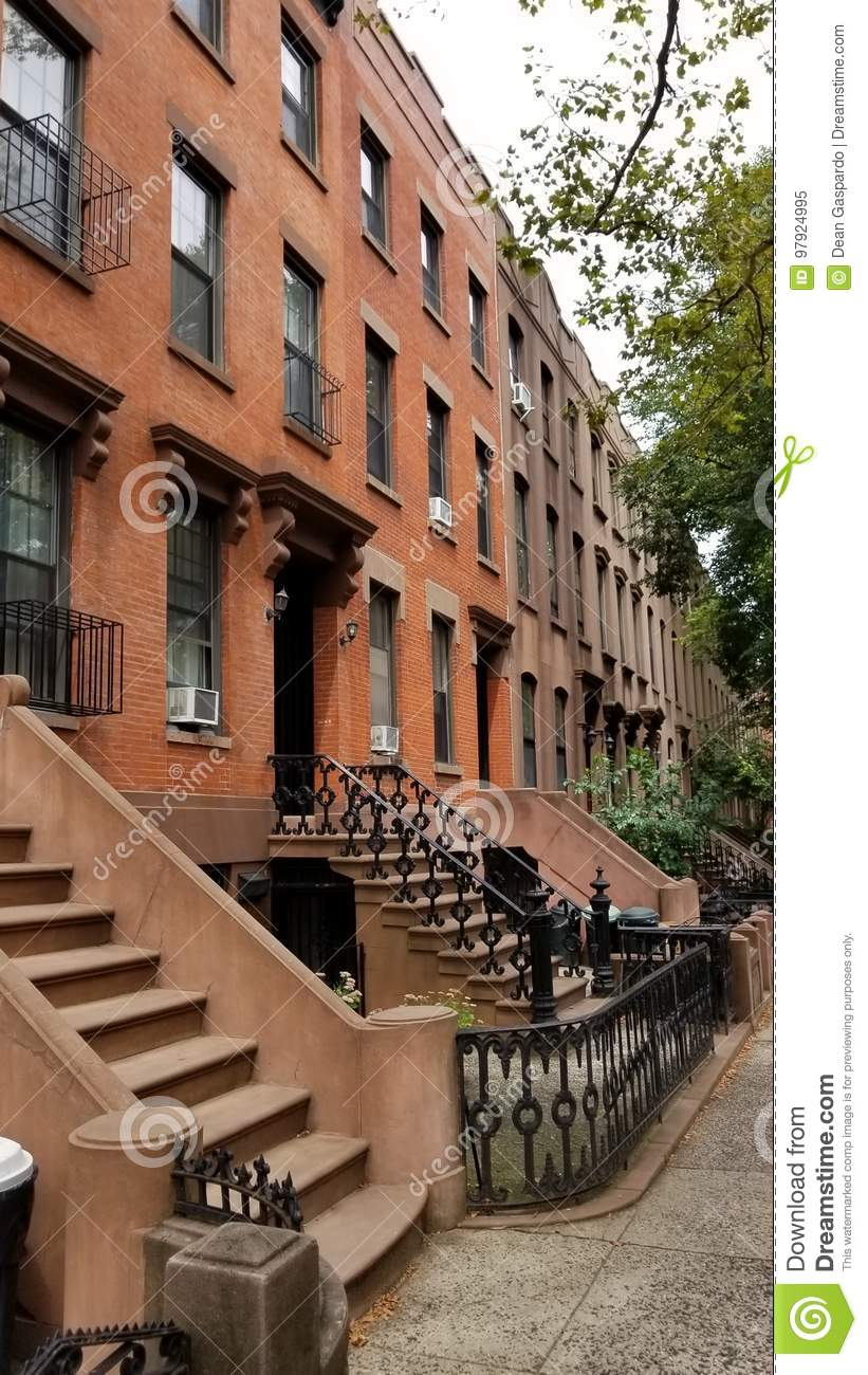 Brownstone Home In Carroll Gardens Brooklyn Stock Image - Image of ...