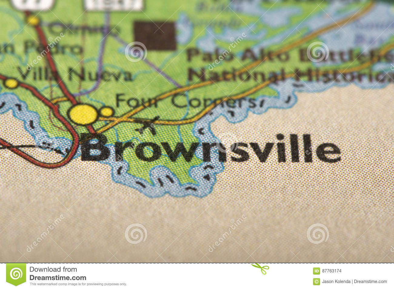 Brownsville Texas On Map Stock Photo Image Of Print 87763174