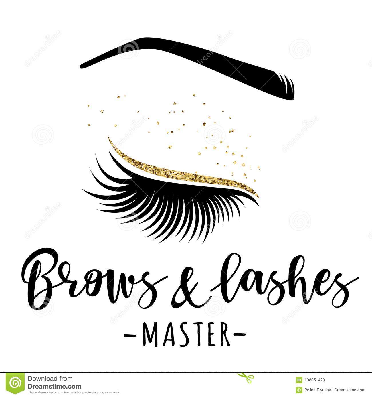 2700fa6a0f8 Brows and lashes gold logo. Vector illustration of lashes and brow. For  beauty salon, lash extensions maker, brow master.