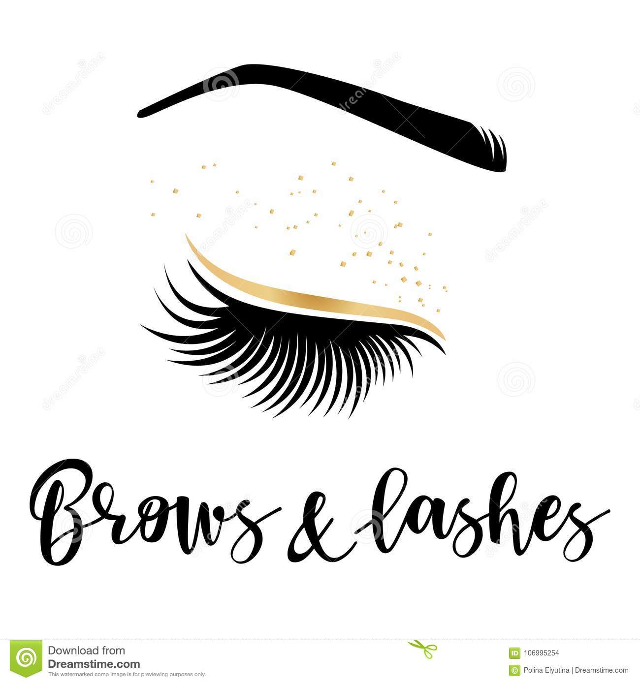 24ba66ea2f9 Brows and lashes gold logo. Vector illustration of lashes and brow. For  beauty salon, lash extensions maker, brow master.