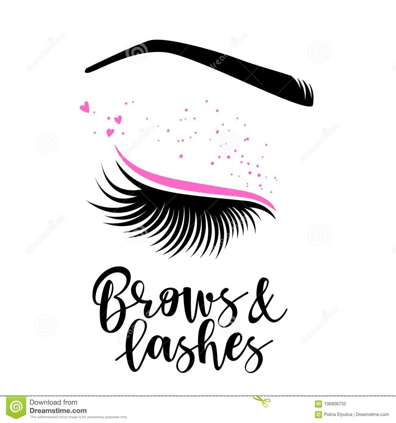 bd5e5a86467 Brows and lashes lettering. Vector illustration of lashes. For beauty  salon, lash extensions maker, brow master.