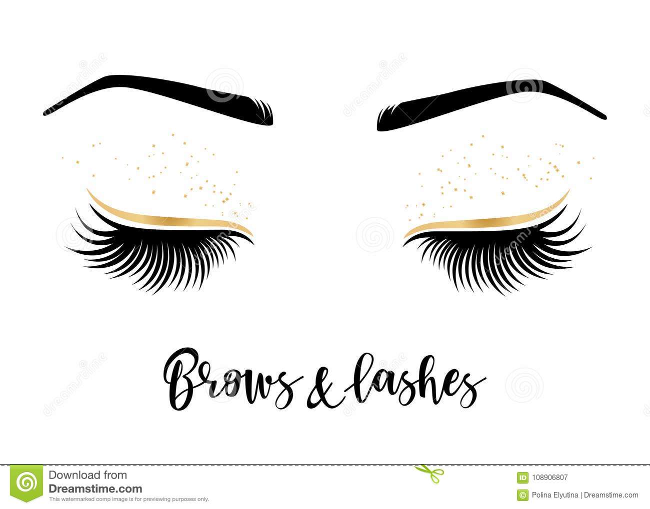 cbb74278ce4 Brows and lashes lettering. Vector illustration of lashes and brows. For  beauty salon, lash extensions maker, brow master.