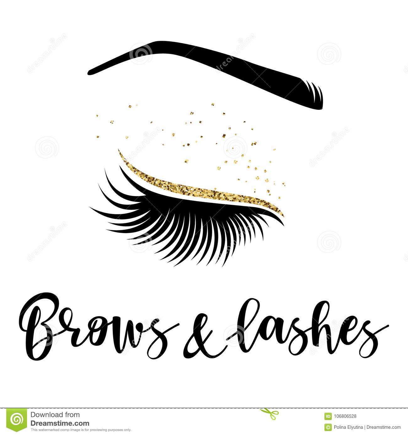 87498f7e860 Brows and lashes logo. Vector illustration of lashes and brow. For beauty  salon, lash extensions maker, brow master.