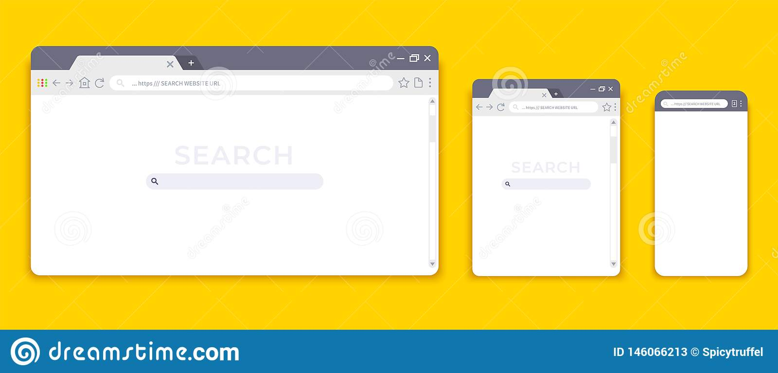 Browser mockups. Website interface for different devices, empty laptop tablet and mobile internet page. Vector browser