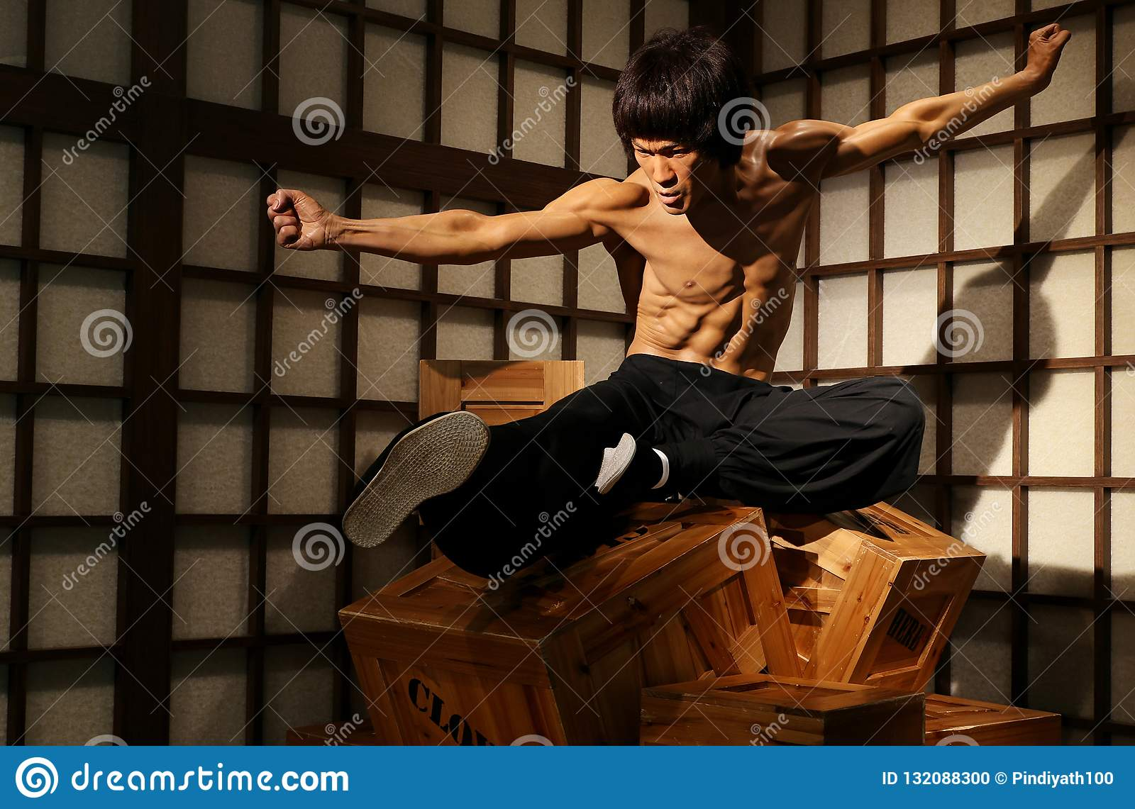 Bruce Lee Hollywood Actor Wax Figure At Madame Tussauds In Hong Kong