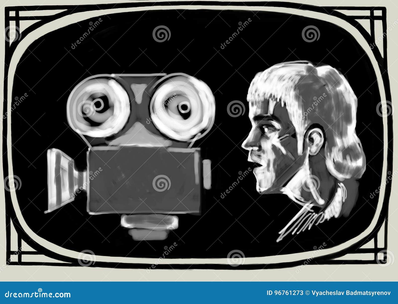 Bruce Lee untersucht die Filmkamera