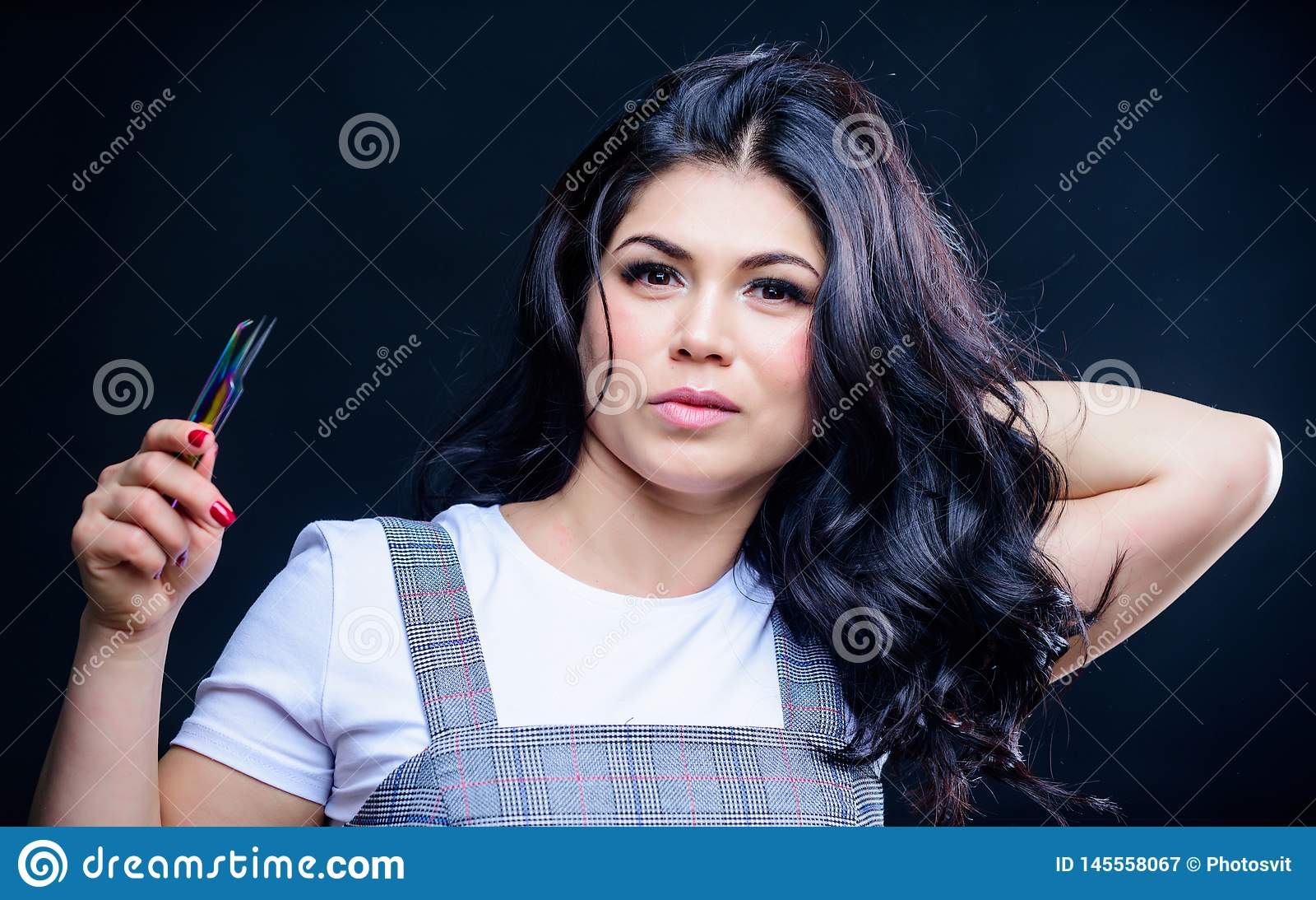 Brucelles de prise de visage de maquillage de fille pour l extension de cil Volume faux de m?ches de maquillage Applicateur de m?