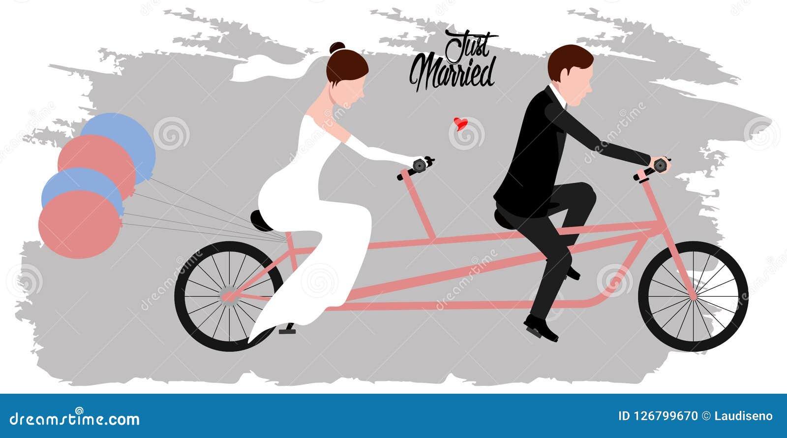 Brudgum och brud på en cykel par som att gifta sig bara