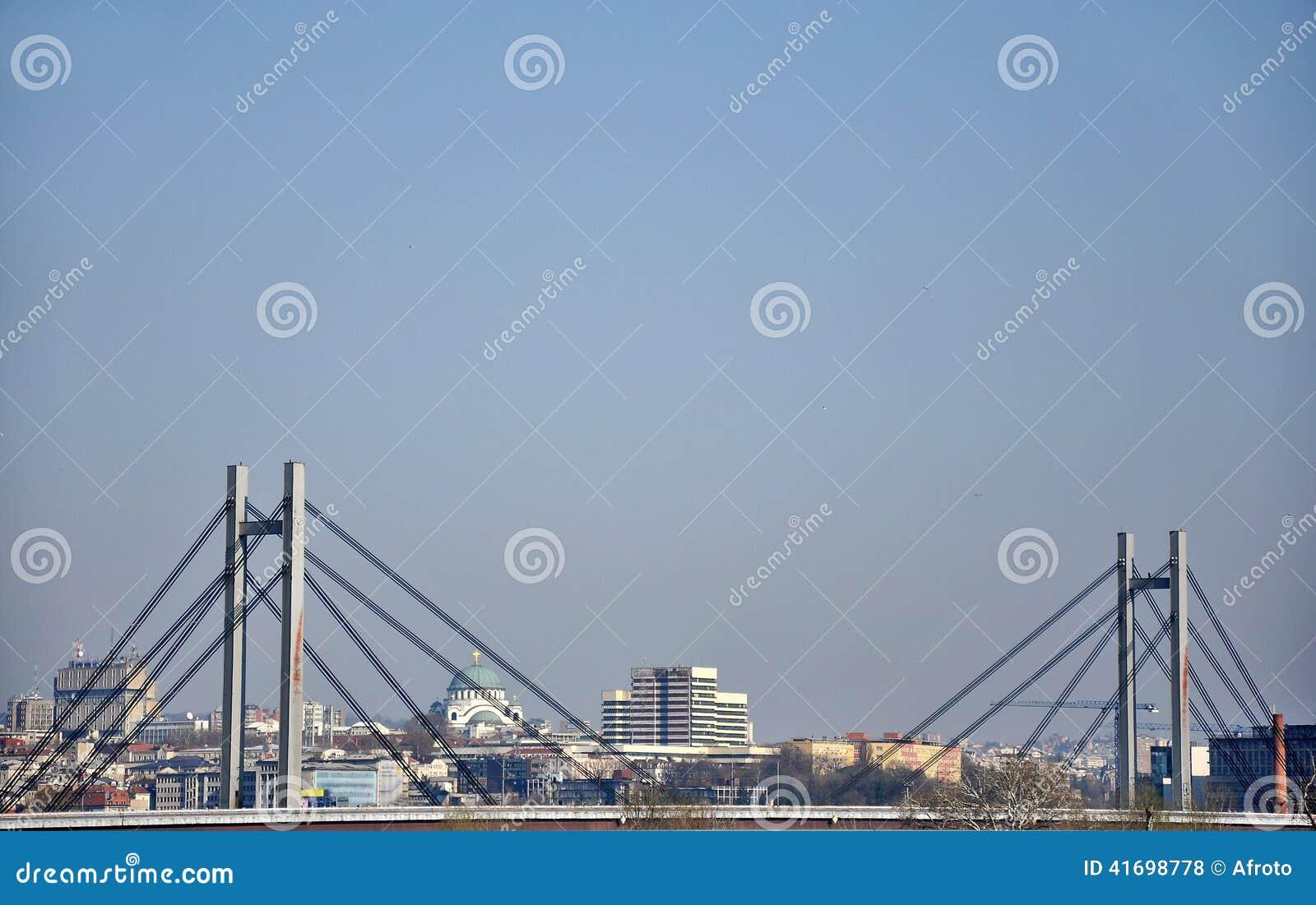 Brug in de grote stad van Belgrado