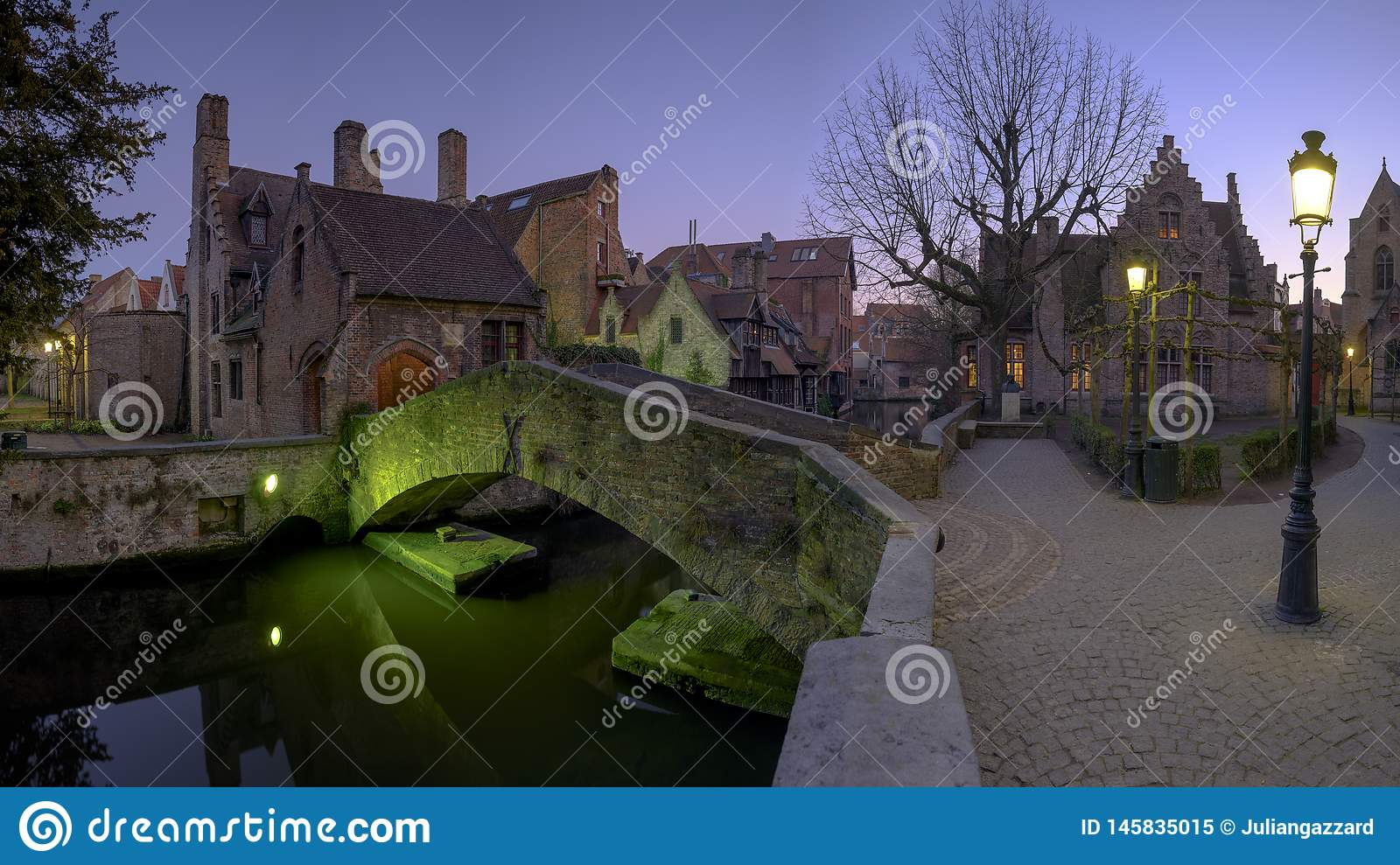 Night time shot of Bonifacius bridge in Bruges, Belgium