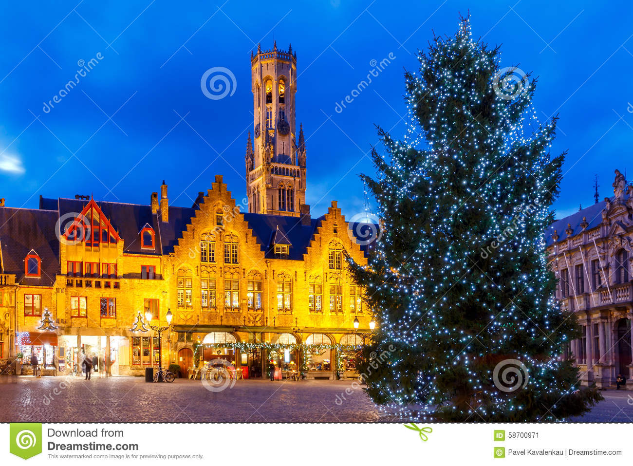 Bruges Christmas.Bruges Burg Square With The Christmas Tree At Christmas