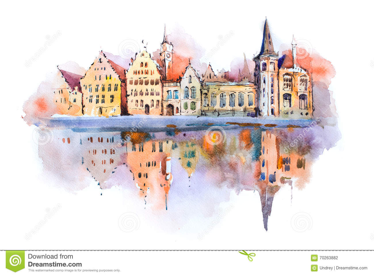 Bruges cityscape watercolor drawing, Belgium. Brugge canal aquarelle painting