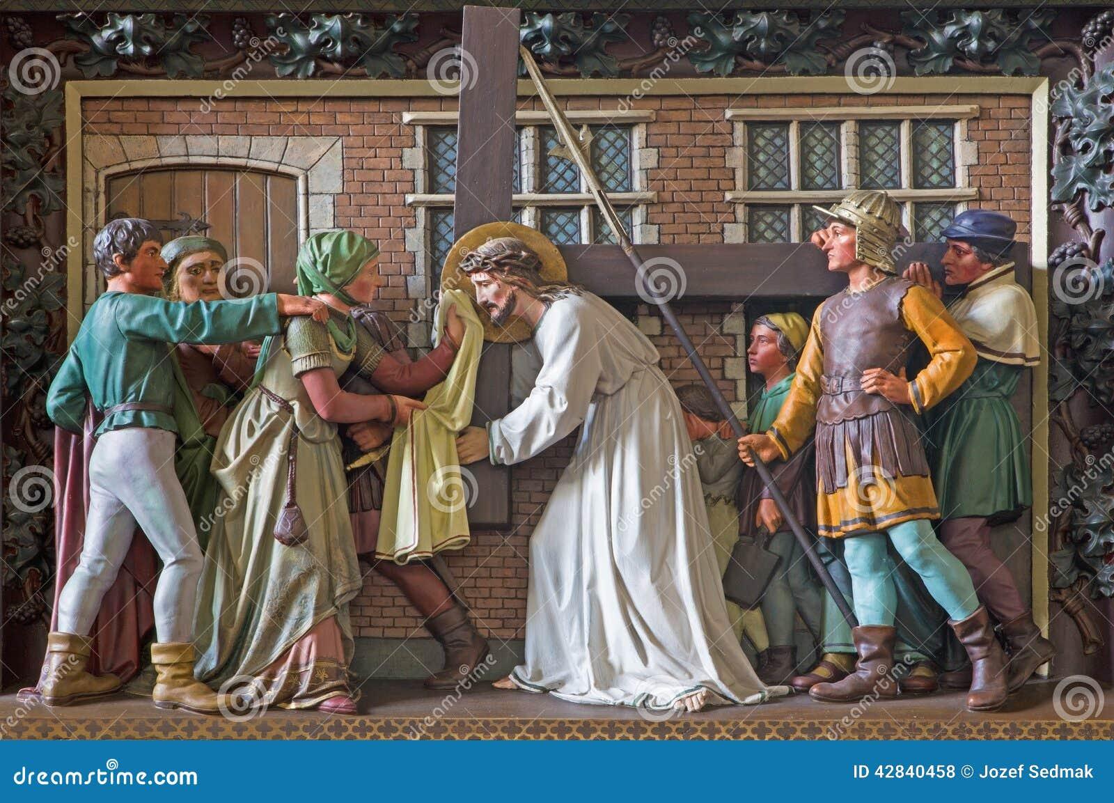 Bruges - le Veronica essuie le visage de Jésus Soulagement dans l église de St Giles (Sint Gilliskerk)