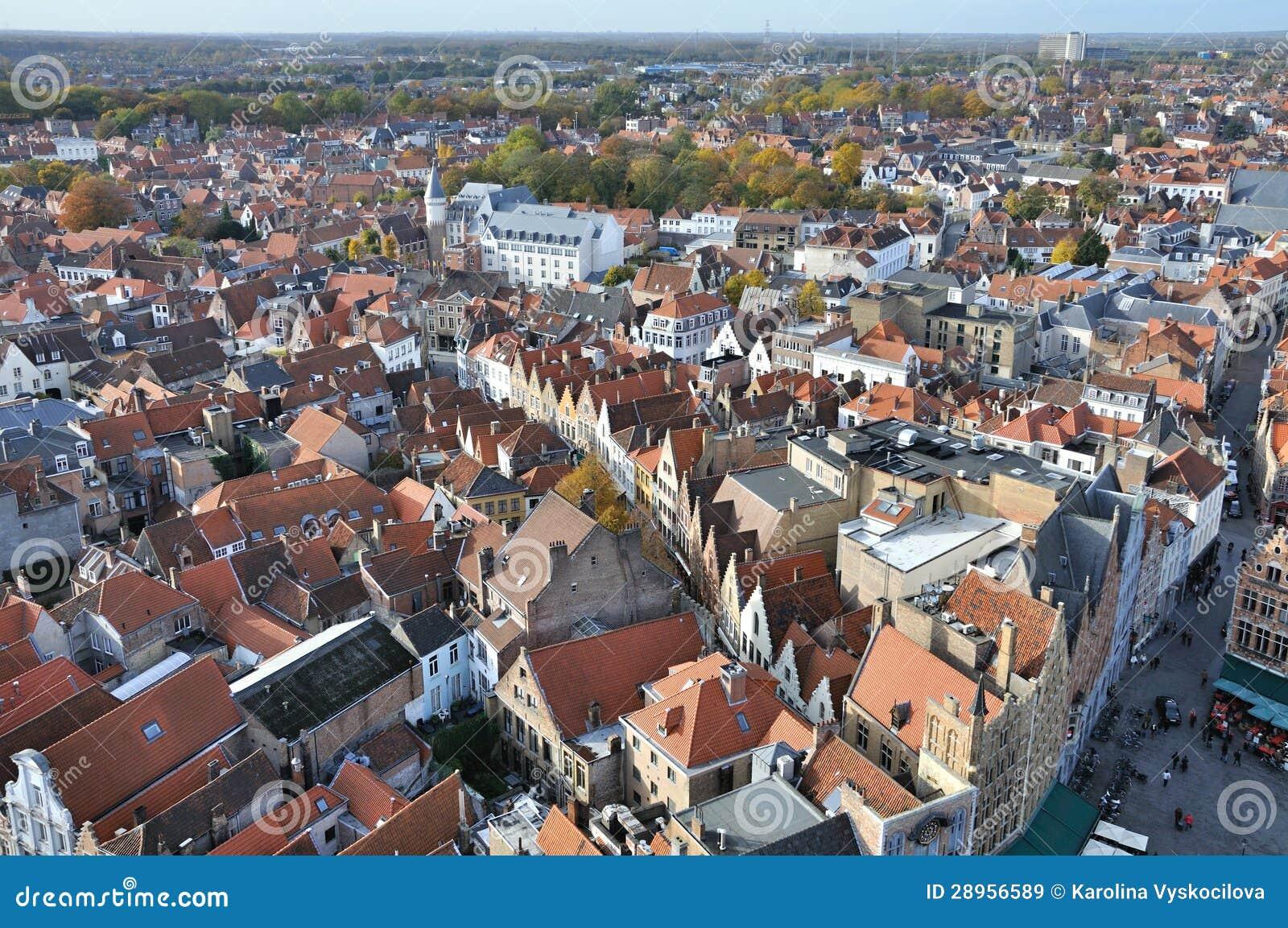 Brugge, Grote Markt ptaków oka widok -