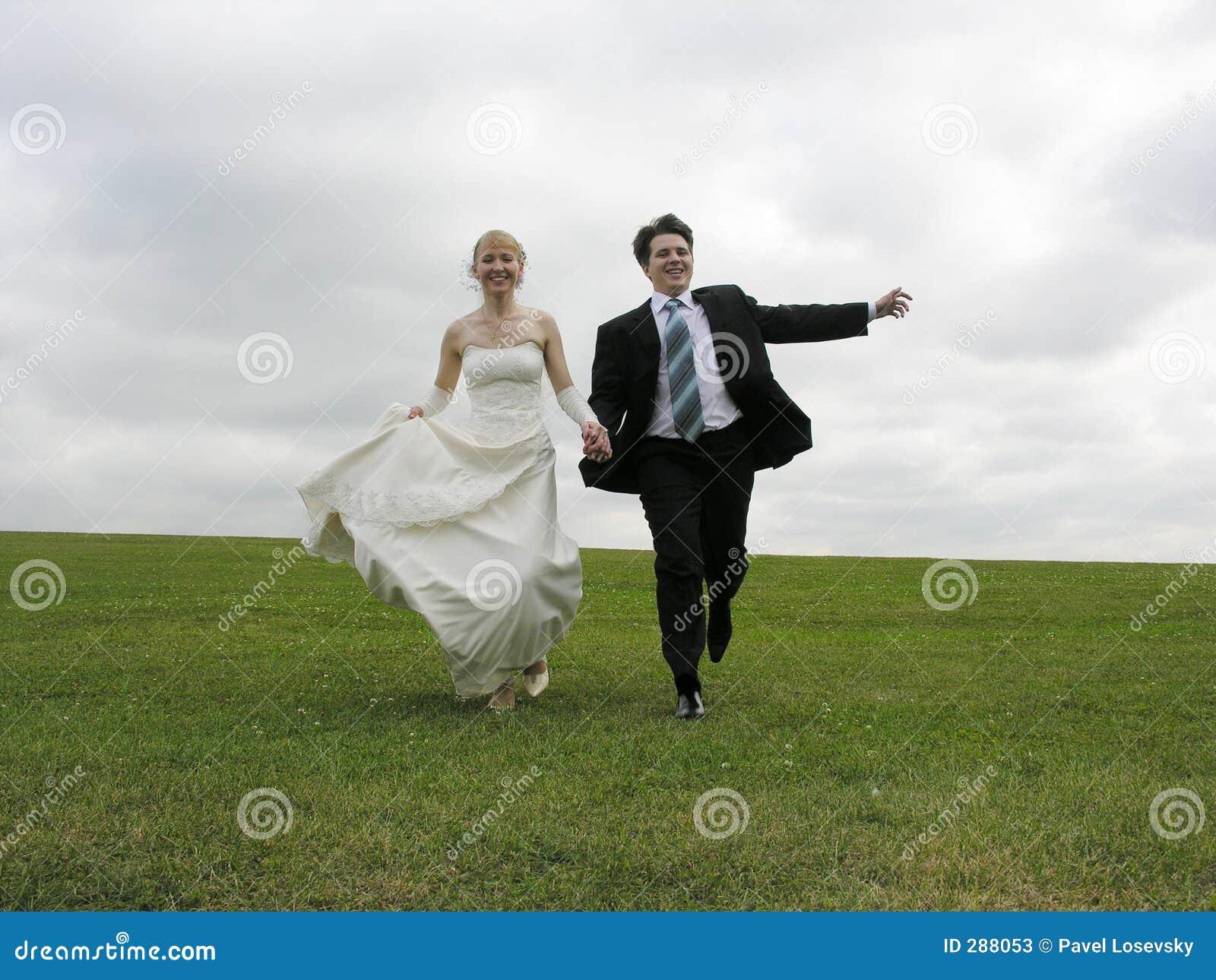 Bruid en bruidegom die op weide lopen