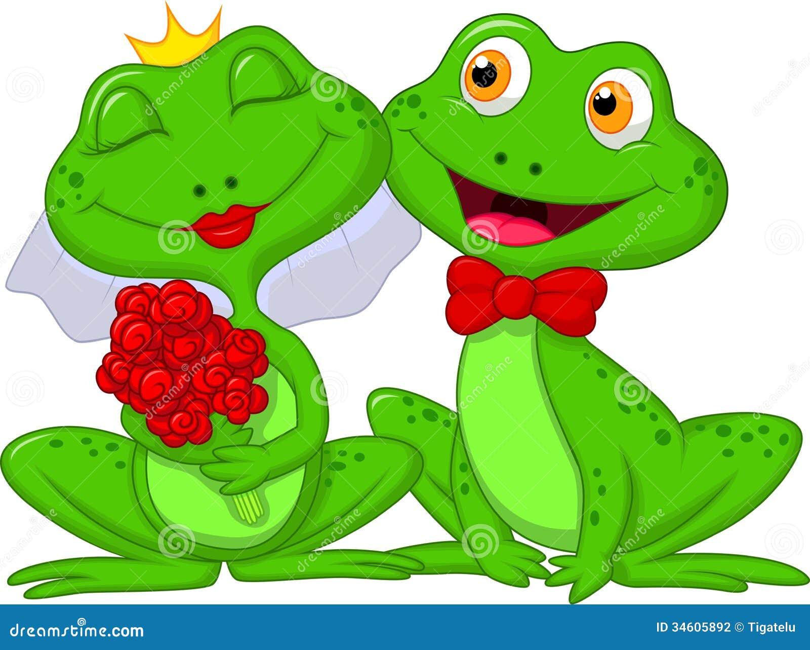 Bruid en Bruidegom Frogs Cartoon Characters