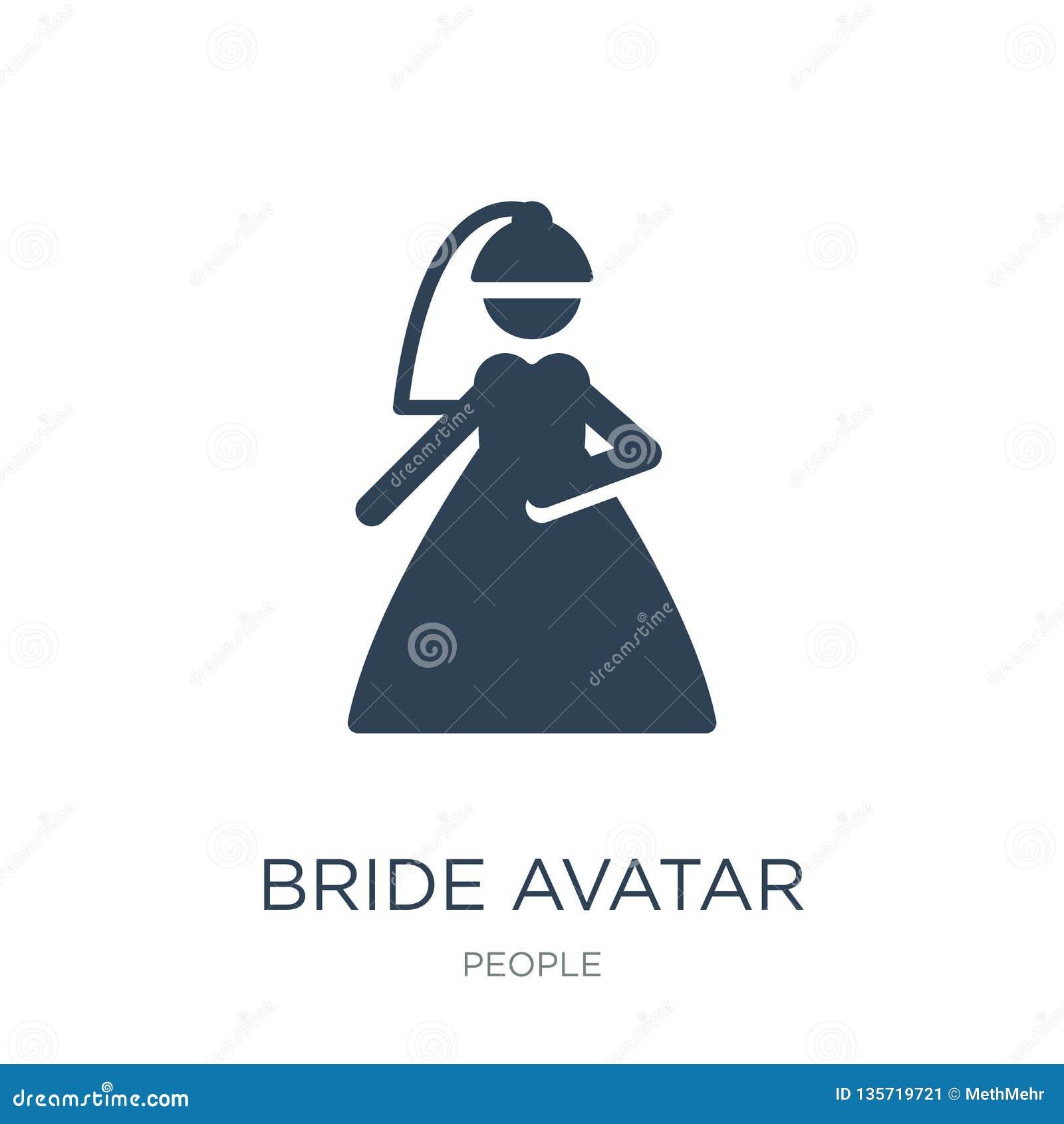Bruidavatar pictogram in in ontwerpstijl bruidavatar pictogram op witte achtergrond wordt geïsoleerd die bruidavatar vector eenvo