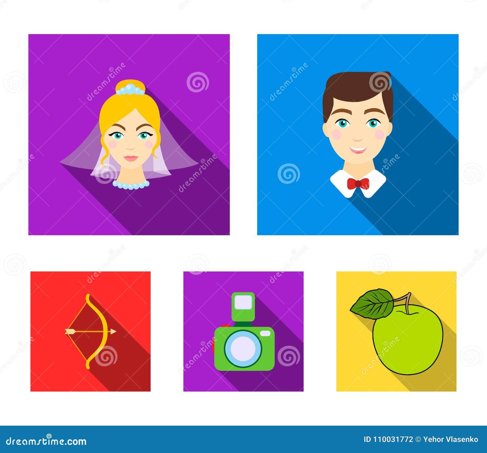 Bruidegom, bruid, het fotograferen, pijl van de cupido Pictogrammen van de huwelijks de vastgestelde inzameling in de vlakke voor