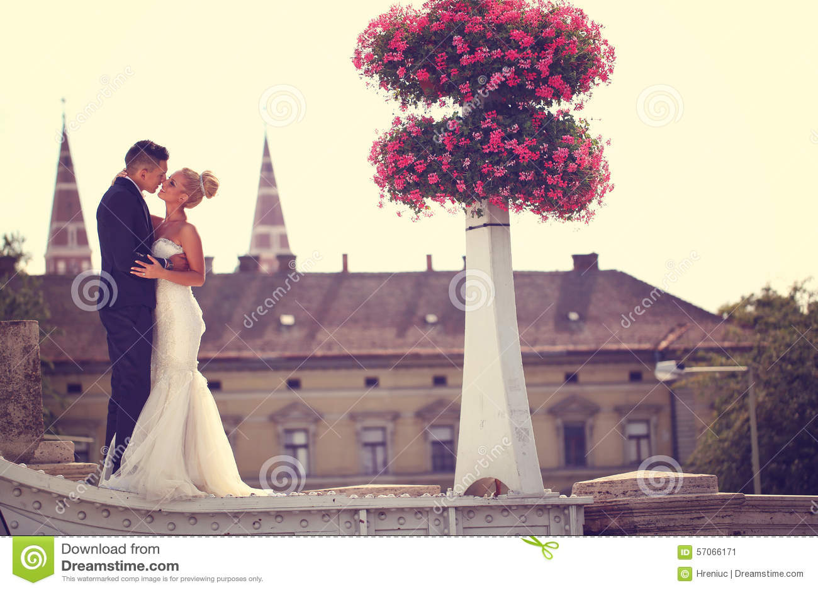 Bruidegom en bruid het kussen op een metaalbrug
