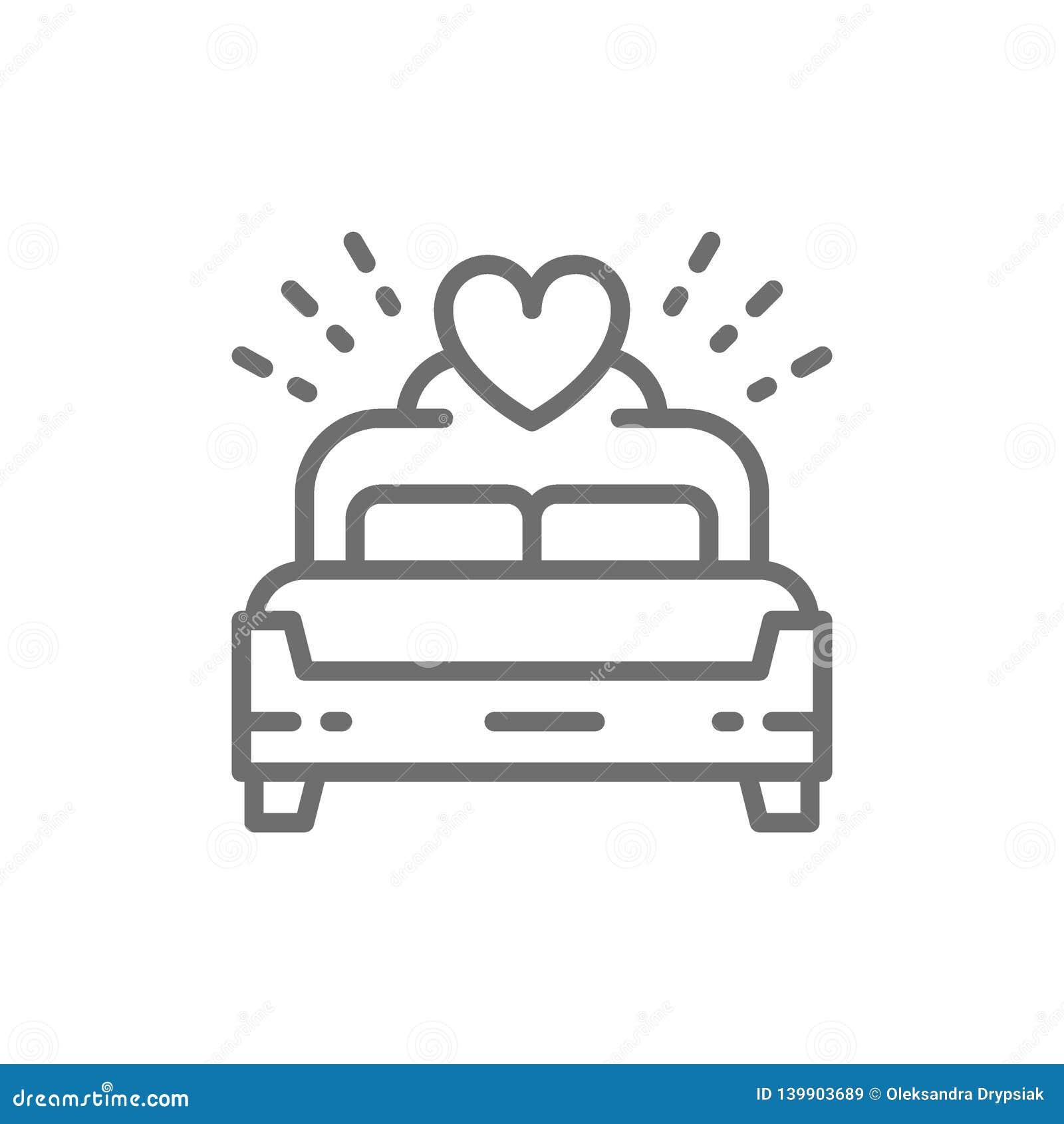 Bruids bed, de lijnpictogram van de koningsgrootte