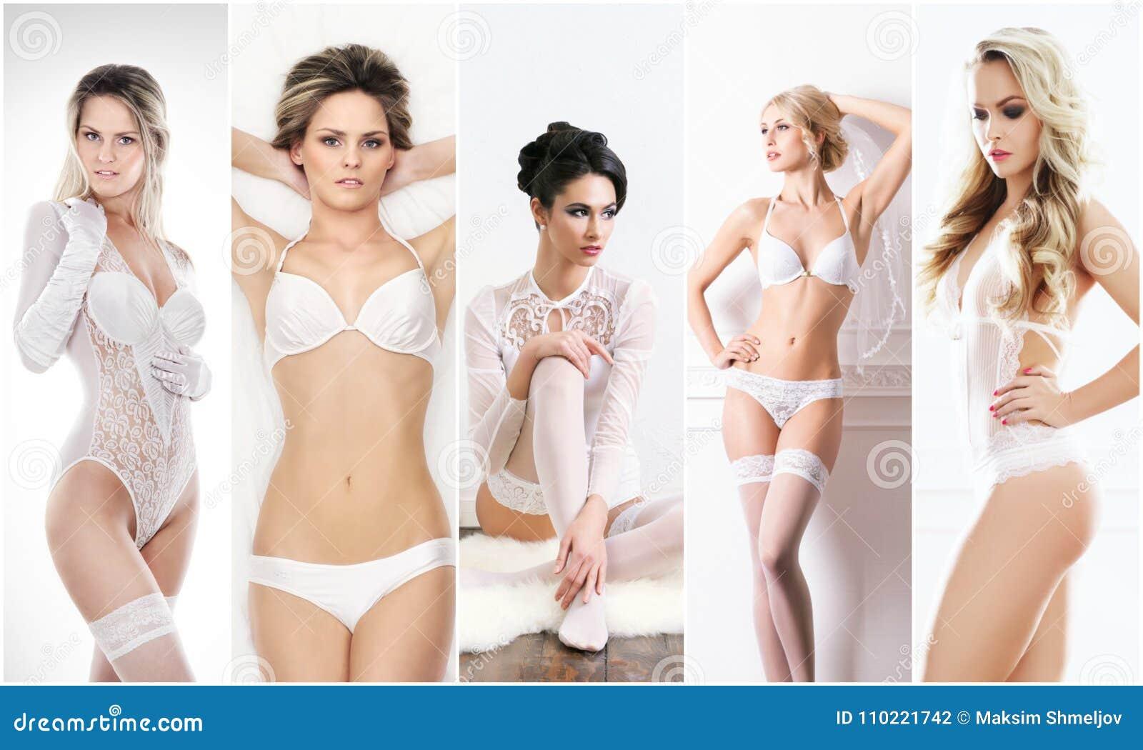 Bruids lingerieinzameling Jonge, mooie en sexy vrouwen die in wit ondergoed stellen Het concept van de lente