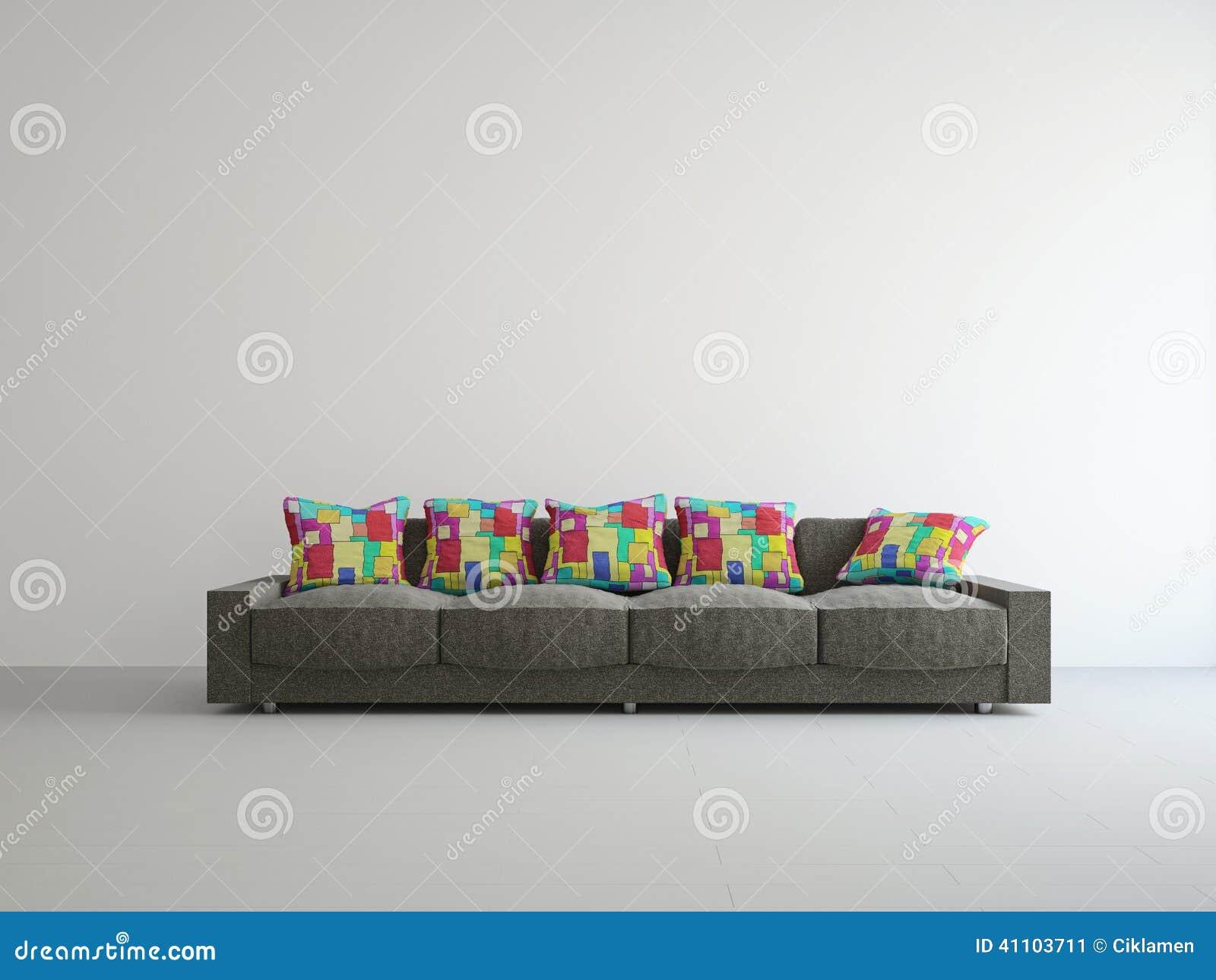 Bruine bank met kleurrijke kussens stock illustratie illustratie