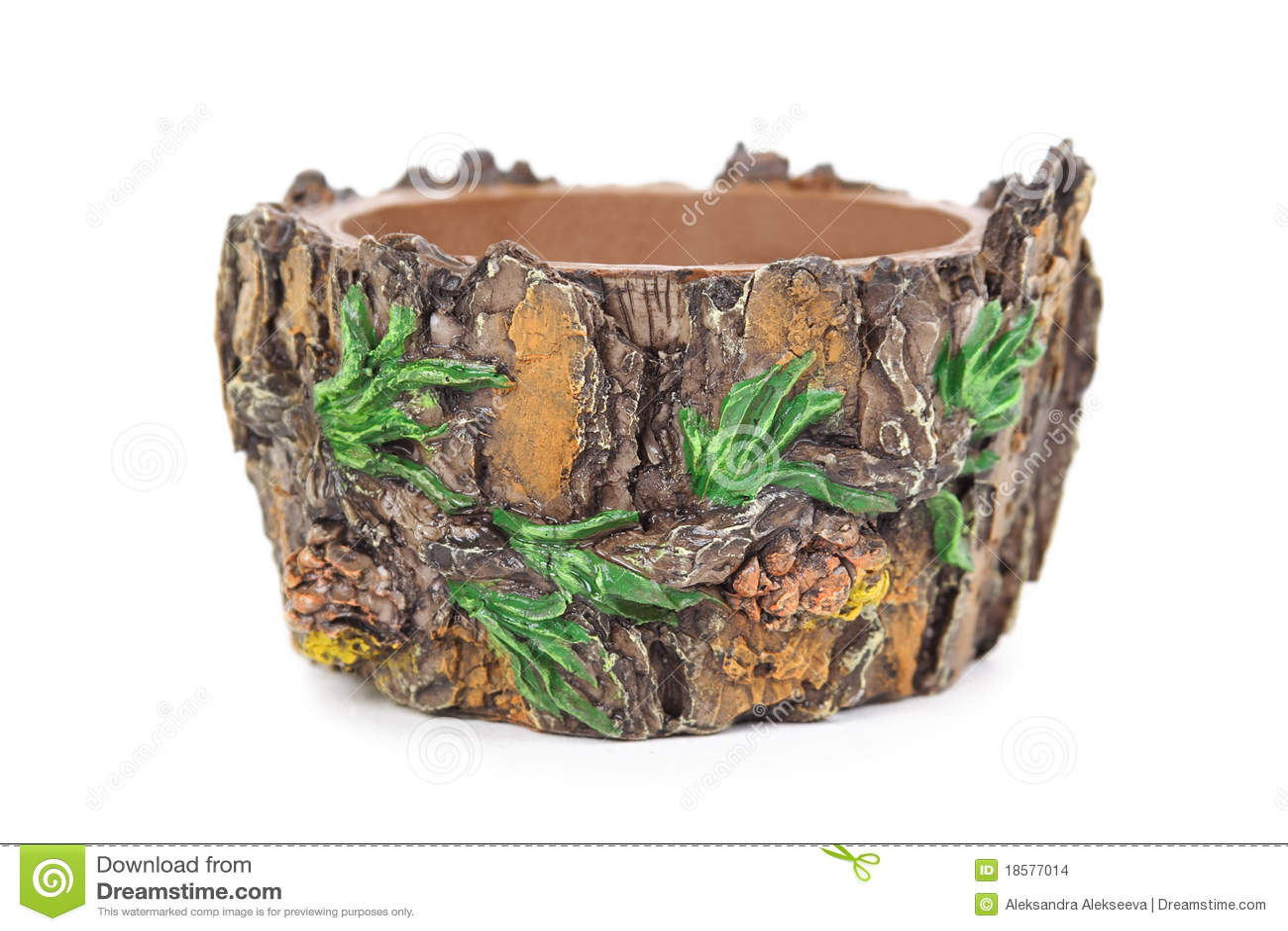 Bruine bloempot vorm zoals naaldboom met pijnbomen stock foto afbeelding 18577014 - Thuis container verkoop ...
