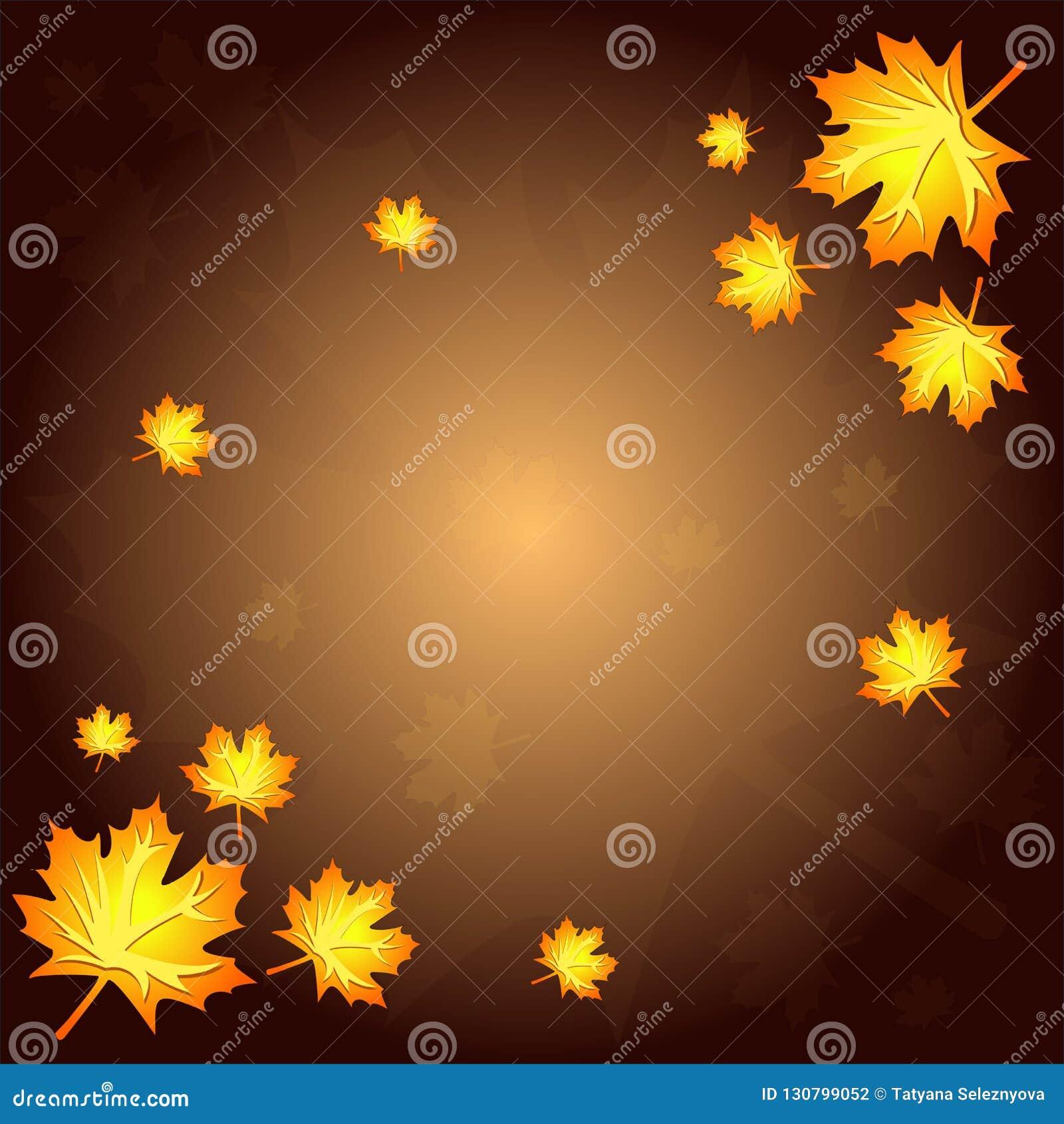 Bruine de herfstachtergrond met gele en rode bladeren