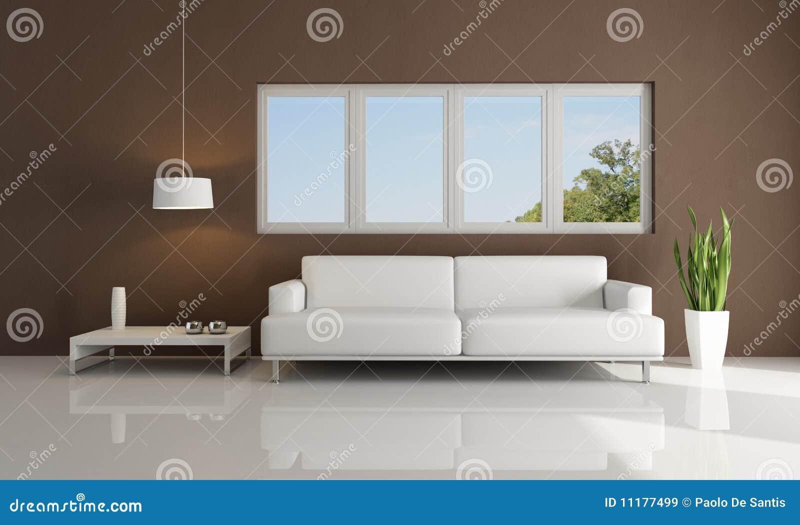 Bruine en witte moderne woonkamer stock illustratie afbeelding 11177499 - Moderne eetkamer en woonkamer ...