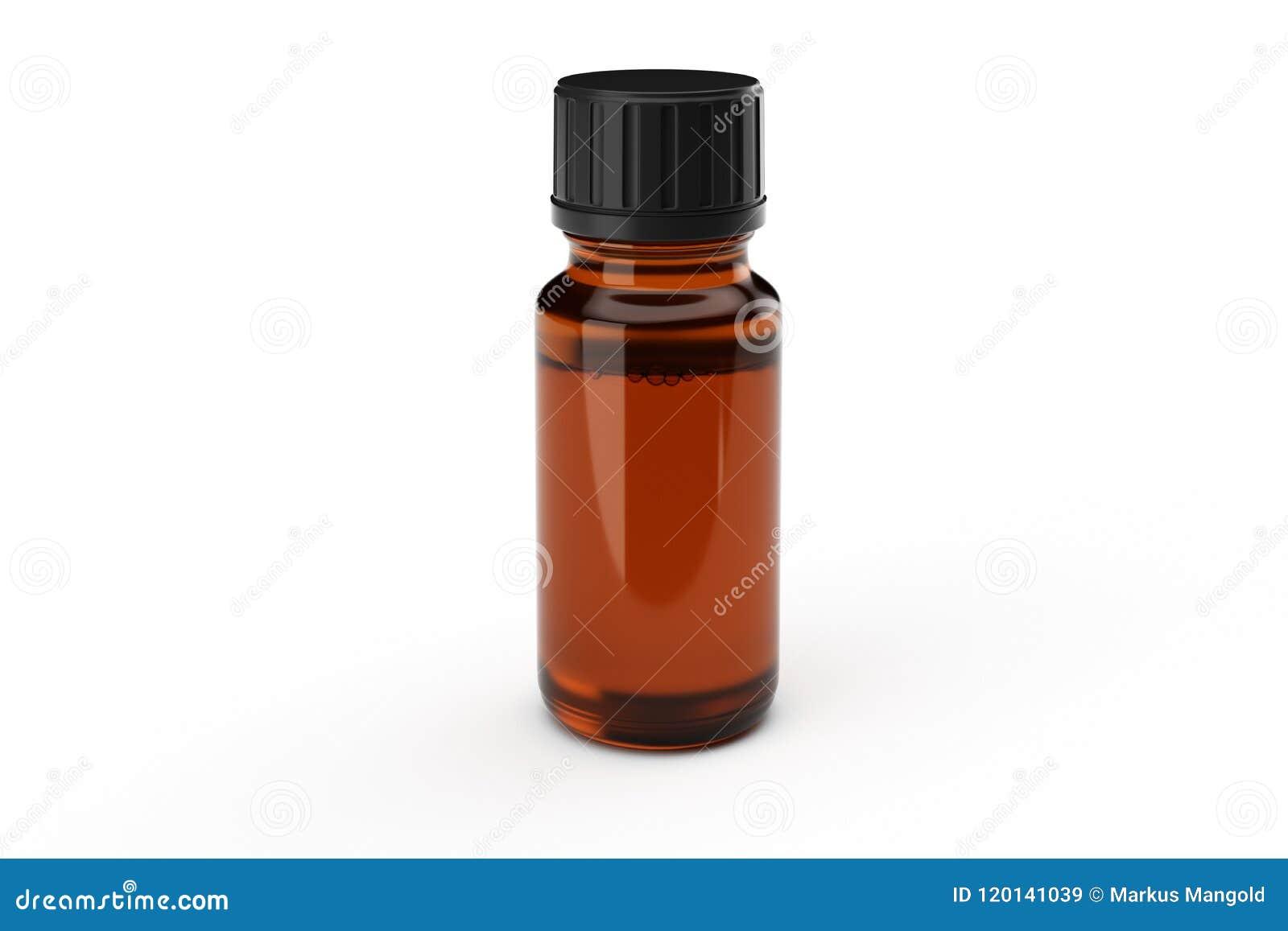 Bruine het druppelbuisjefles van het geneeskundeglas