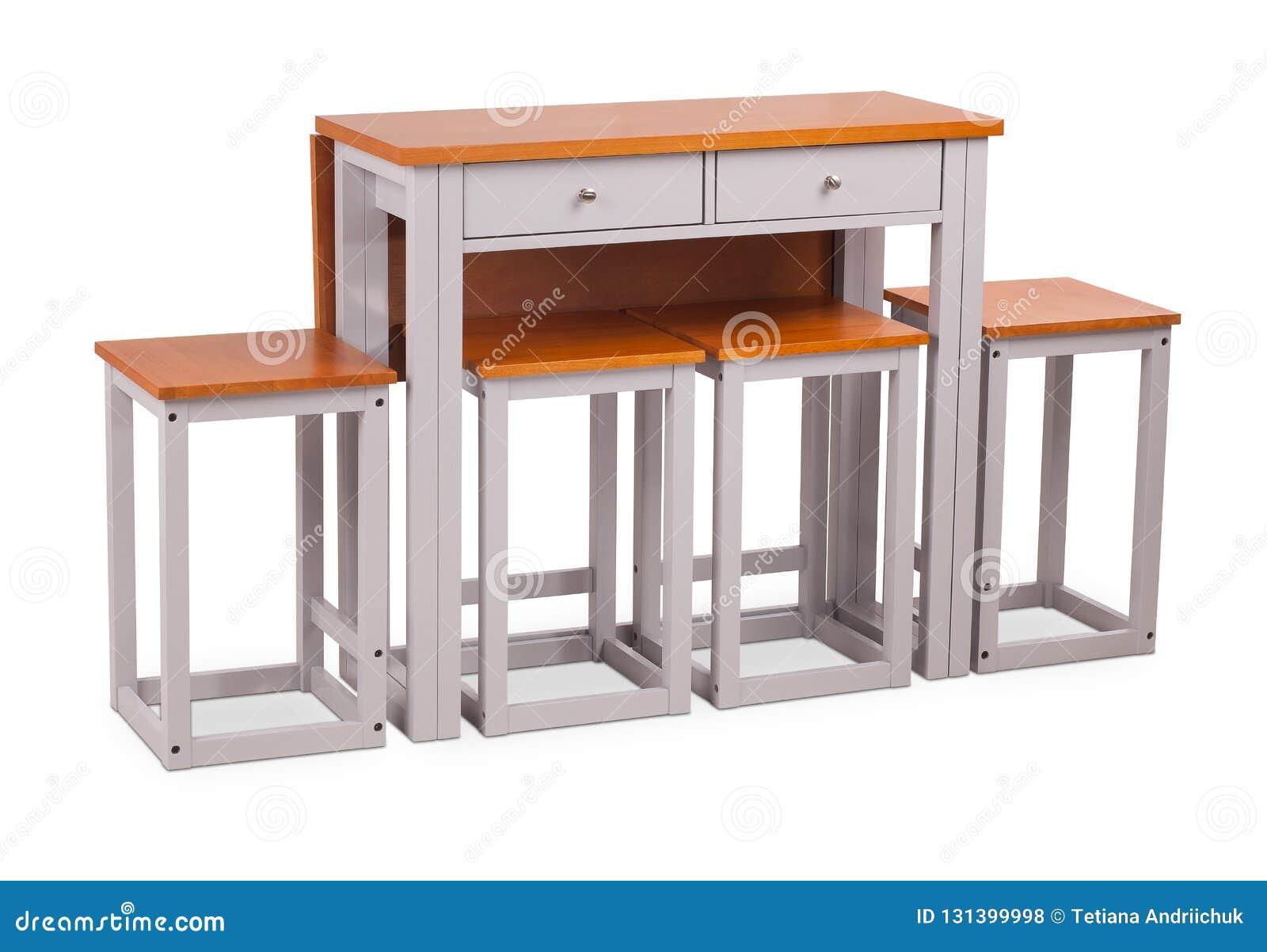 Moderne Witte Eettafel.Bruine Houten Vierkante Eettafel Met Vier Stoelen Kruk
