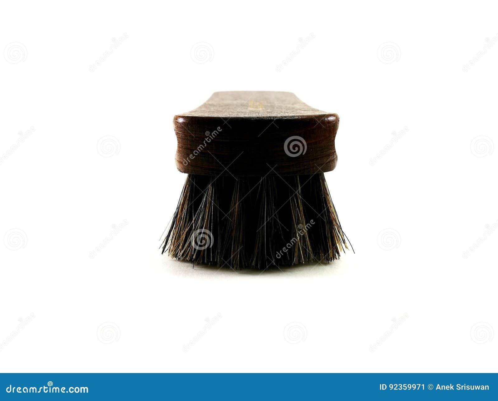 Bruine paardehaarborstel voor het schoonmaken