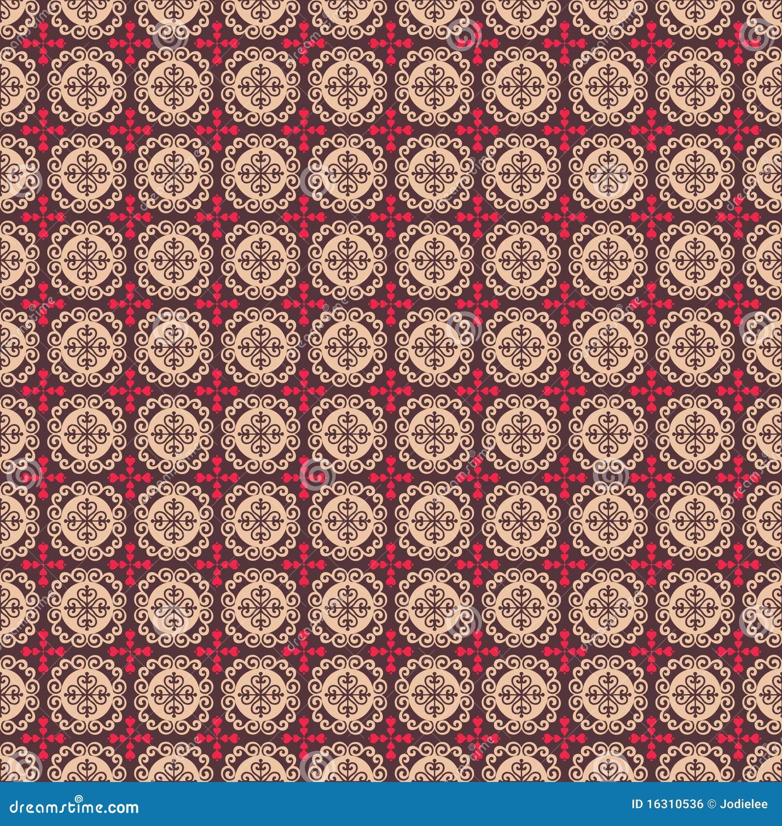 Bruine roze volksharten en bloem naadloos patroon