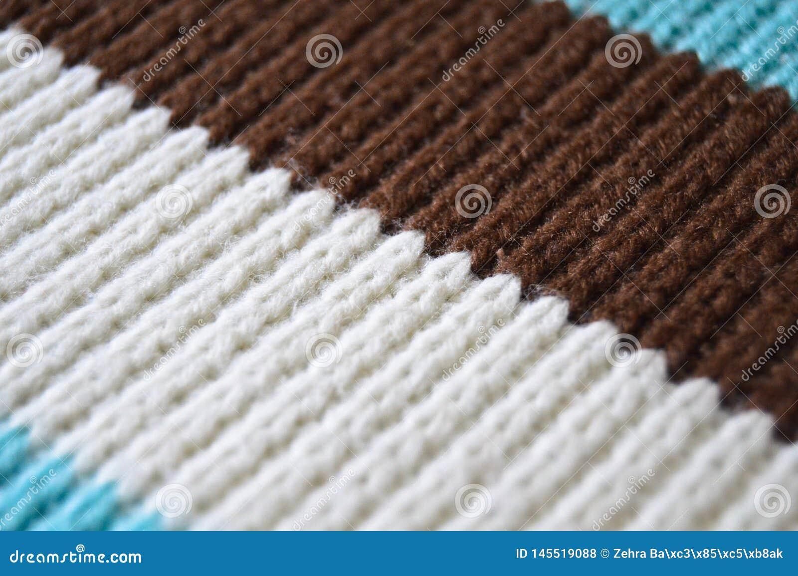 Bruine witte en beige breiende wol, textuurachtergronden