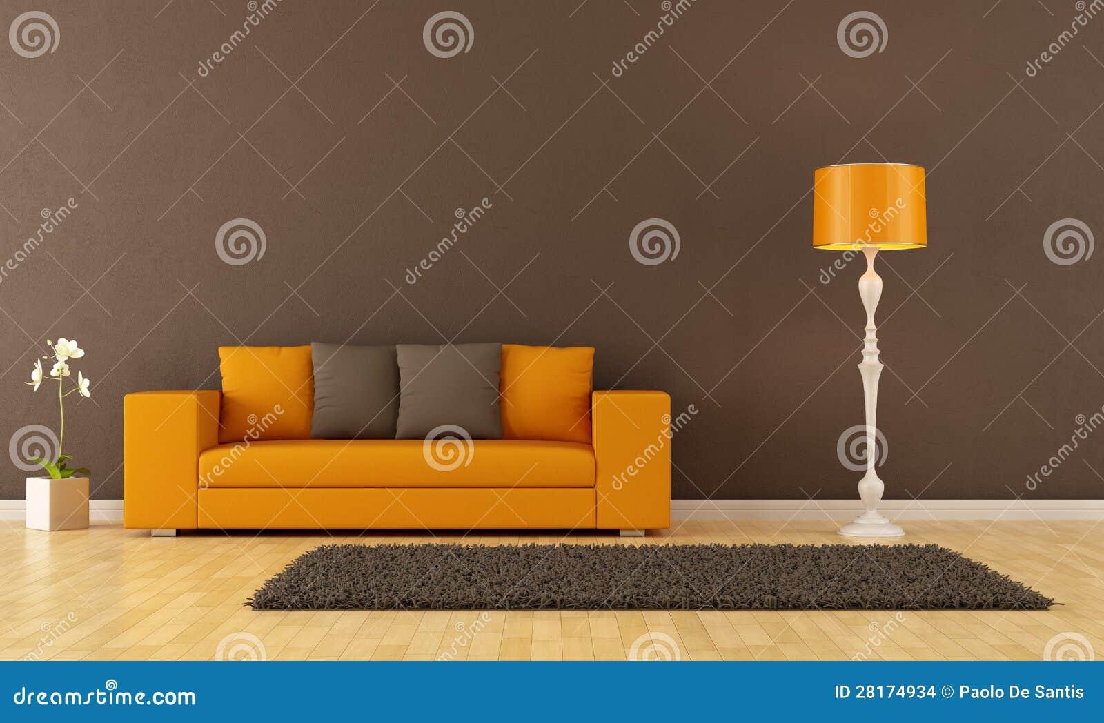Bruine En Oranje Woonkamer Stock Afbeelding - Afbeelding: 13153381
