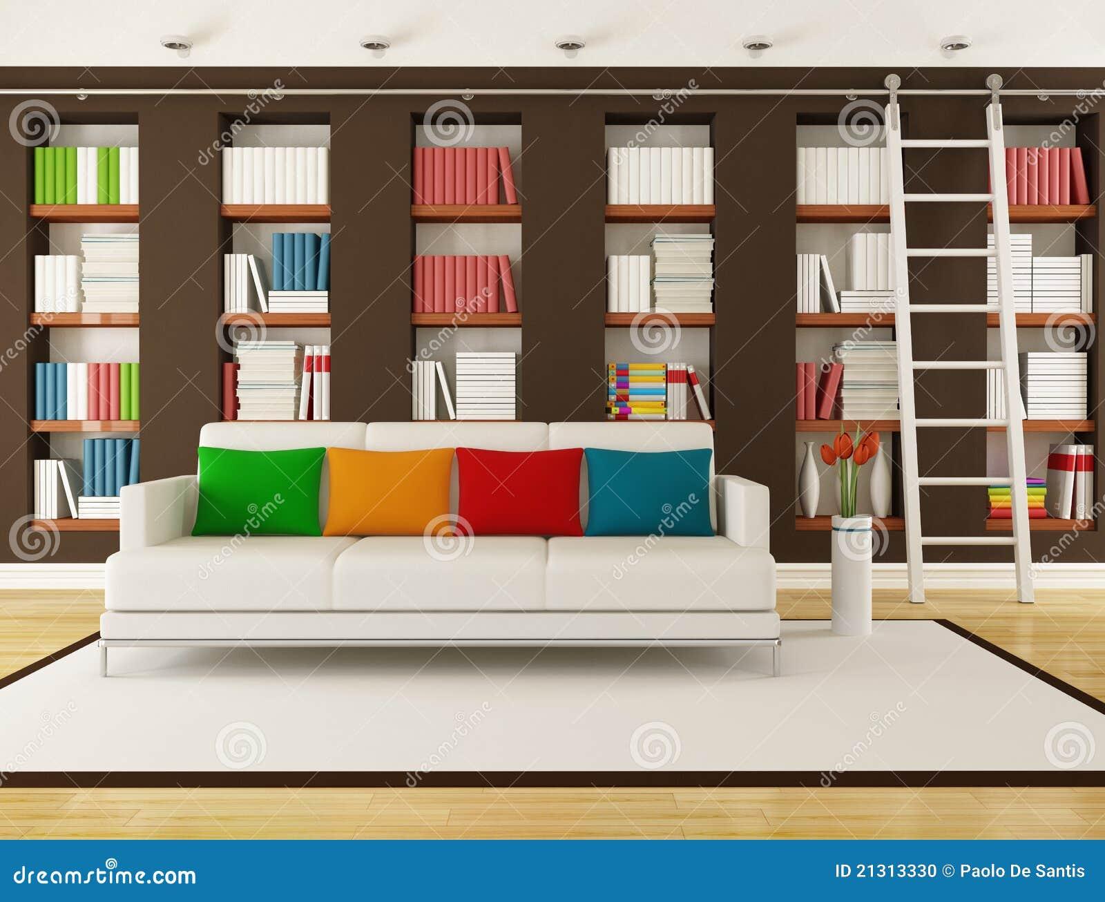 Boekenkast In Woonkamer : Wit woonkamer met een boekenkast u stockfoto denisismagilov