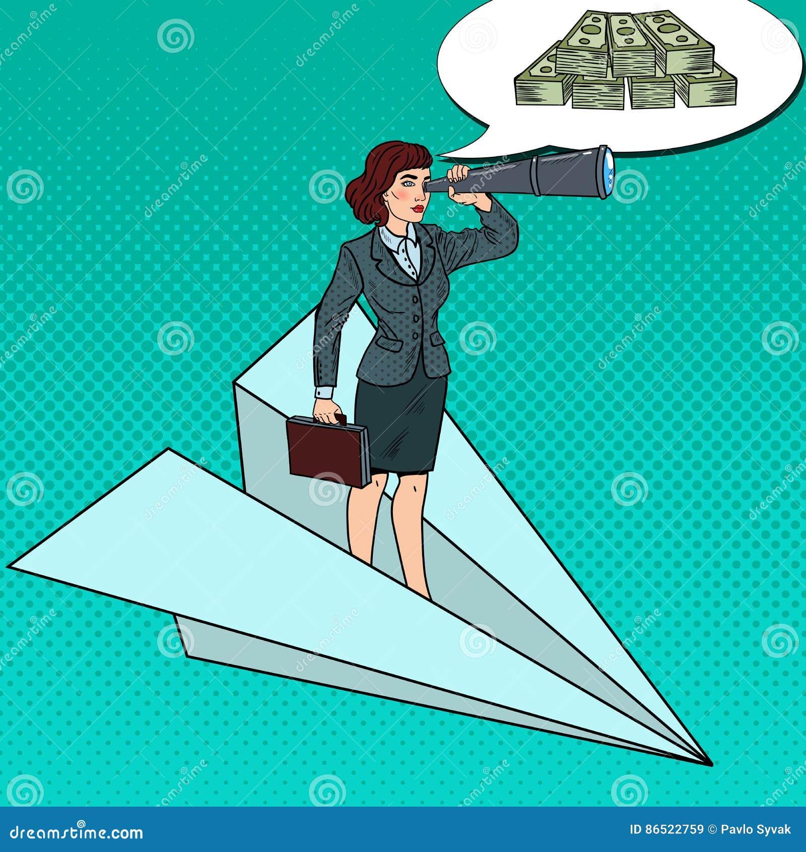 Bruit Art Confident Business Woman Flying sur l avion de papier avec le regard